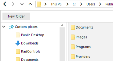 Telerik UI for WinForms File Dialogs - Support for custom places