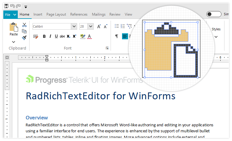 Telerik UI for WinForms - Support for vector graphics