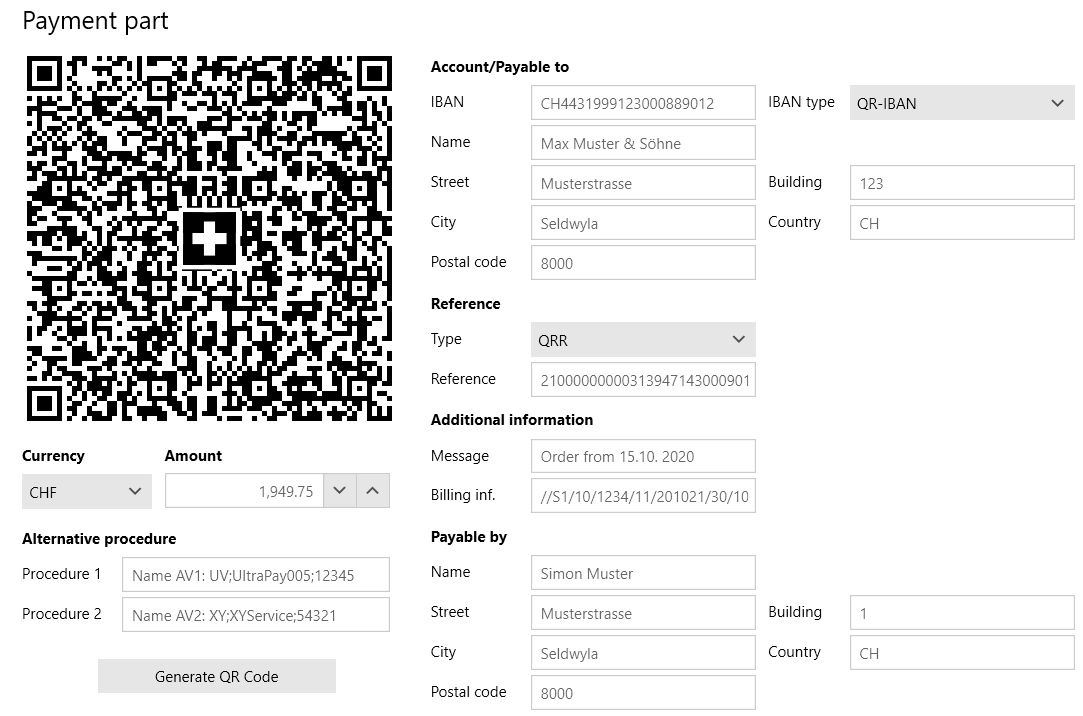 A Swiss QR code (with recognizable Swiss cross in the center) is being set up with payment information, including currency, amount, payable to account, and payable by info.