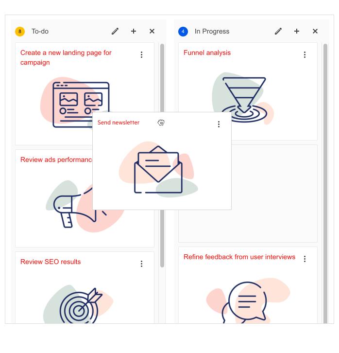 Telerik UI for ASP.NET Core TaskBoard Drag & drop of card between lanes