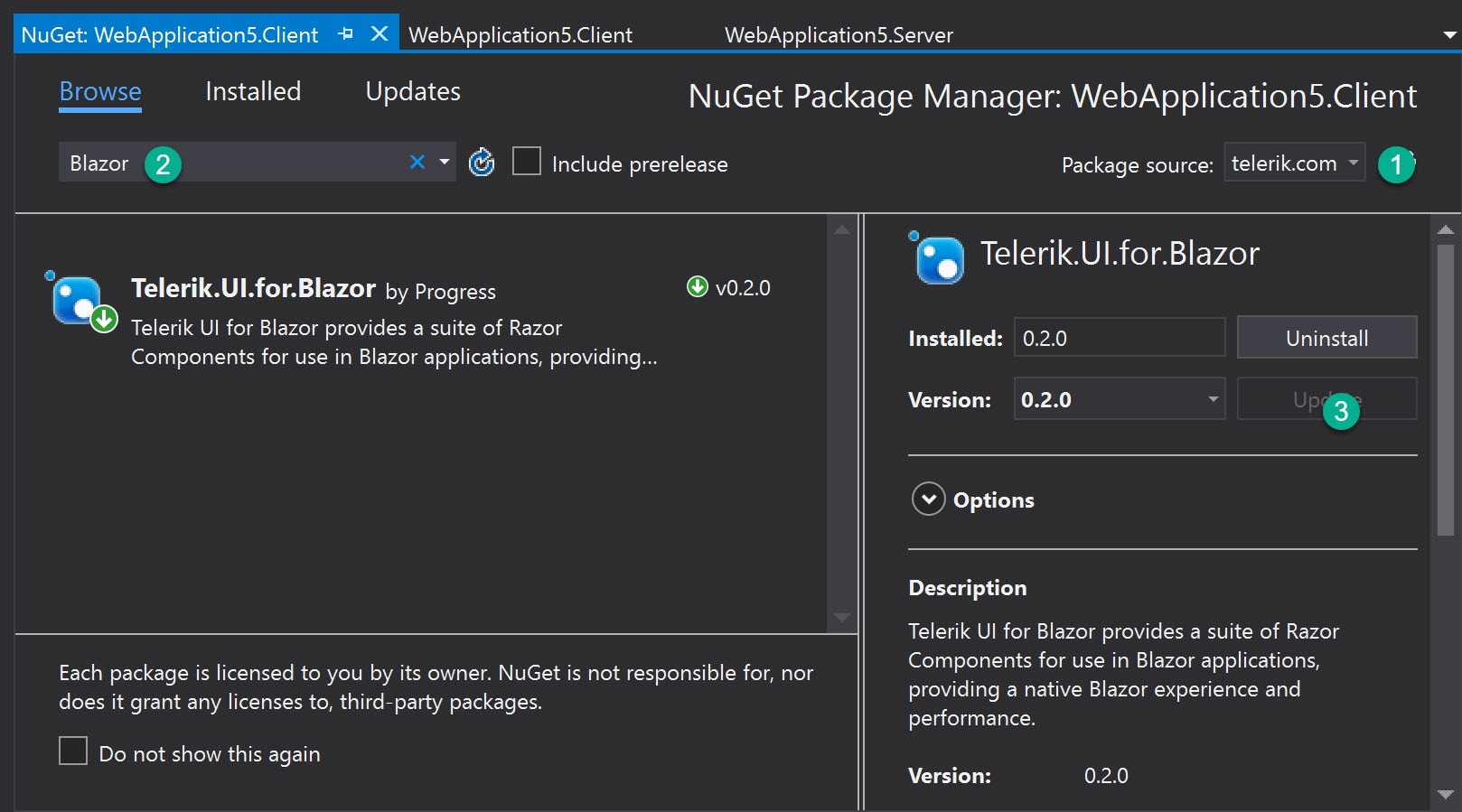 Telerik UI for Blazor Nuget