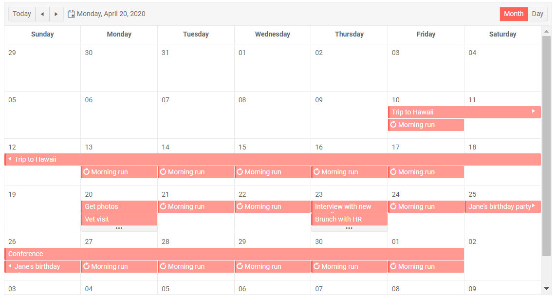 Telerik UI Blazor Scheduler Month View