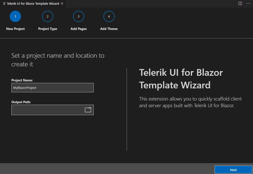 Telerik UI for Blazor Visual Studio Code Extension