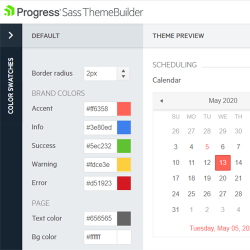 Telerik ThemeBuilder Edit Specific Component