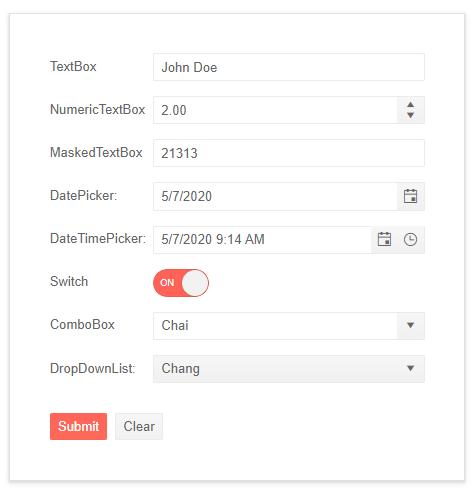 Telerik UI for ASP.NET Core Form with Custom Editors