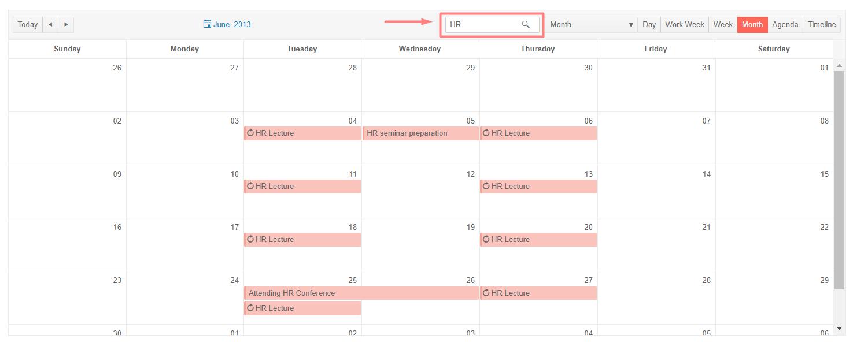 Telerik UI for ASP.NET Core Scheduler Search Box