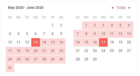 Telerik UI for Blazor Calendar Range Selection