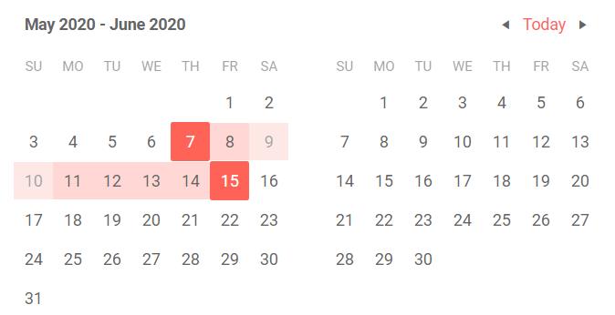 Telerik UI for Blazor DateRangePicker Disabled Dates