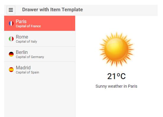 Telerik UI for Blazor Drawer Item Template