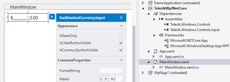 Telerik UI for WPF - .NET Core Design Time Support