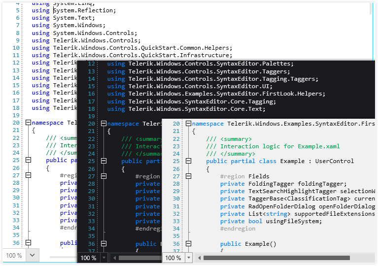 Telerik UI for WPF SyntaxEditor - Palettes