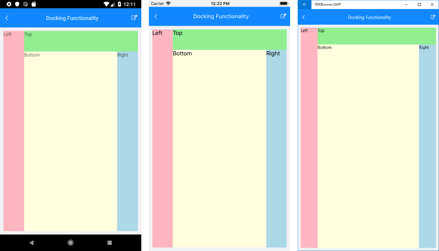 Telerik UI for Xamarin - DockLayout control - Position