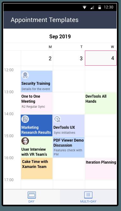 Telerik UI for Xamarin Calendar - AppTemplates