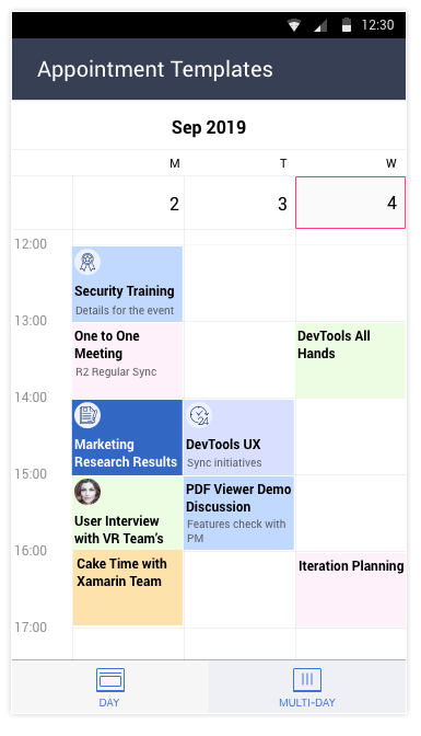 Telerik UI for Xamarin Calendar - Appointment Templates