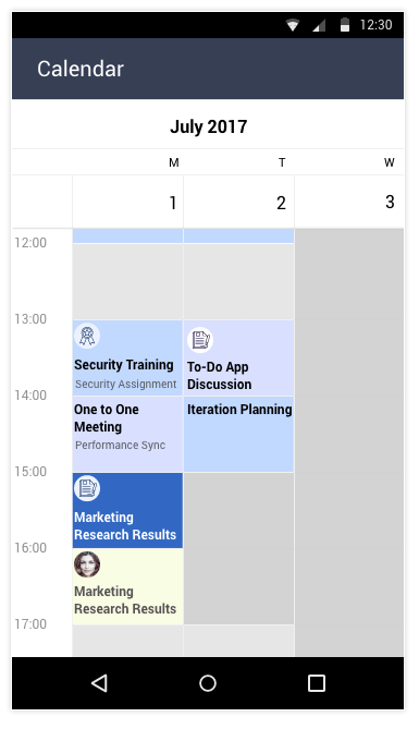 Telerik UI for Xamarin Calendar - Special and Restricted Slots