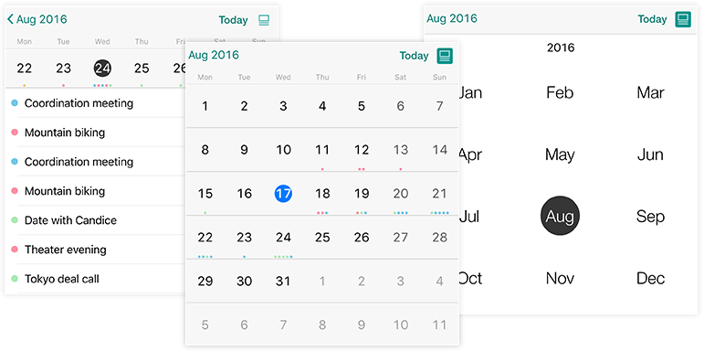 Telerik UI for Xamarin Calendar Views