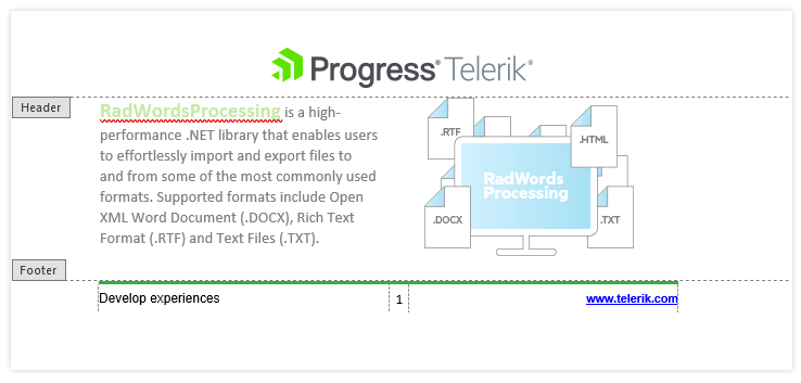 Telerik UI for ASP.NET MVC WordsProcessing - Header and Footer