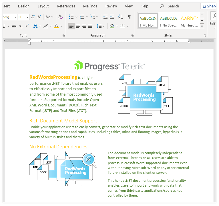 Telerik UI for ASP.NET MVC WordsProcessing - Styles