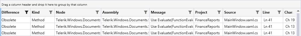 Telerik Upgrade API Analyzer Result