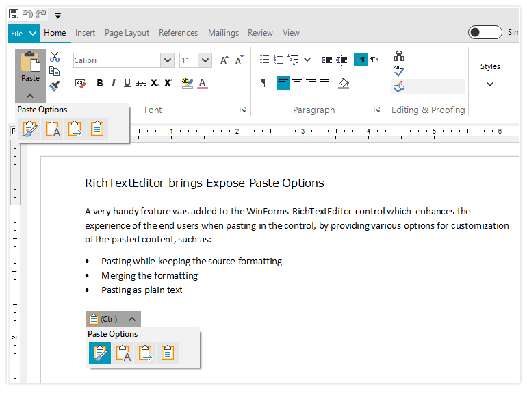 Telerik WinForms RichTextEditor - Paste Options
