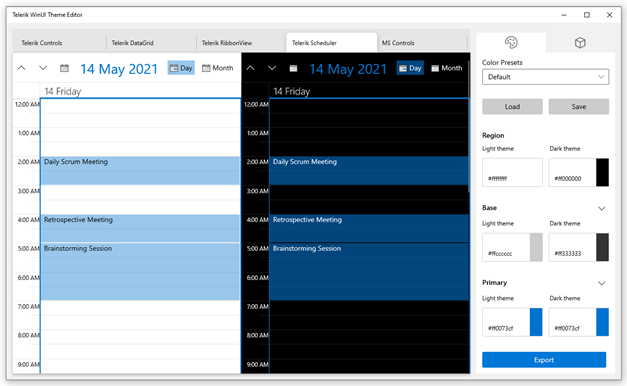 Telerik WinUI Theme Editor is open to the Scheduler. The Color Presets menu is open on the right, and the light and dark versions are displayed to the left of it.