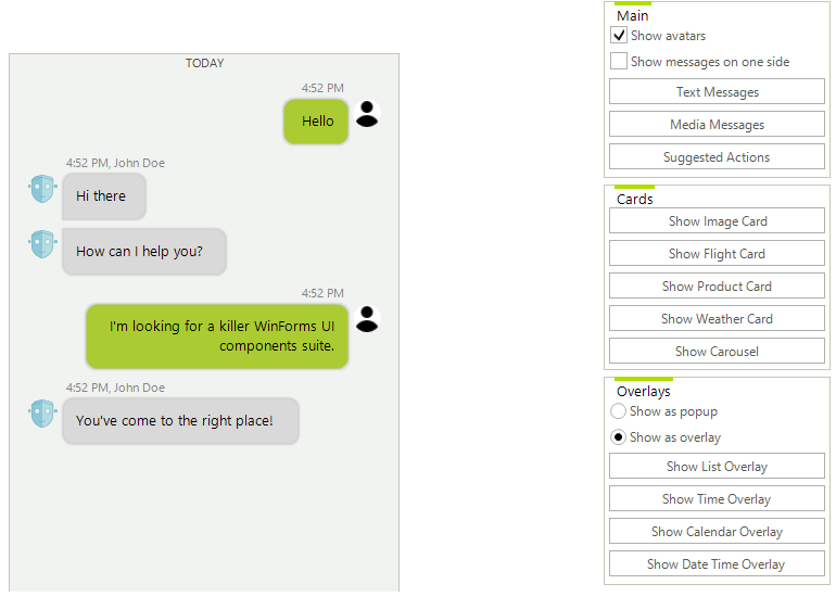 Telerik UI for WinForms Conversational UI - Configurator Image