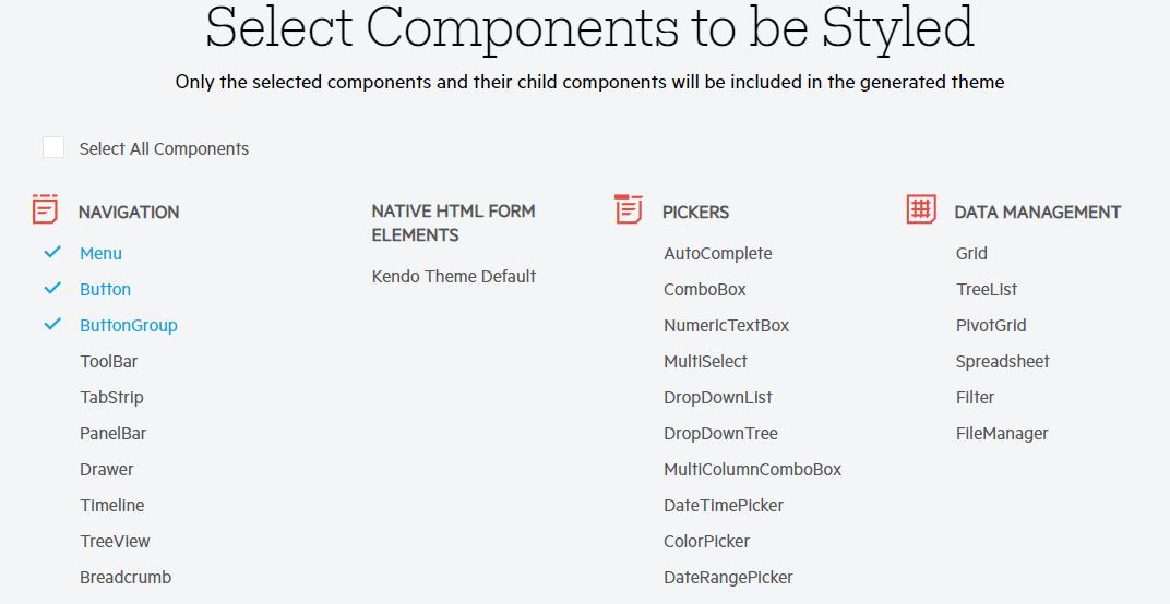 Telerik ThemeBuilder UI Component Selection