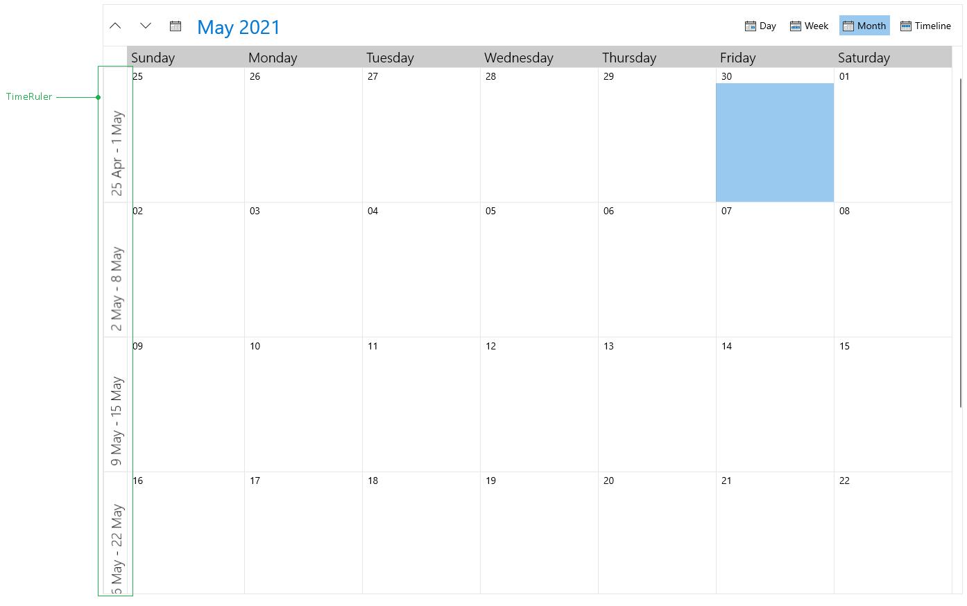 RadScheduler Time Ruler