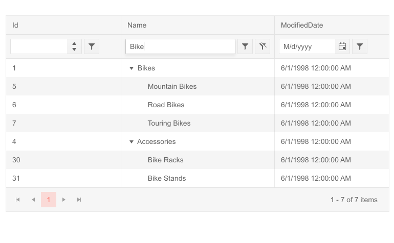 Telerik UI for Blazor TreeList Filter Row
