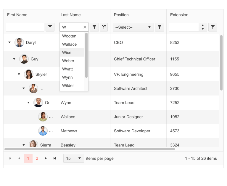 Telerik UI for ASP.NET MVC TreeList Filter Row