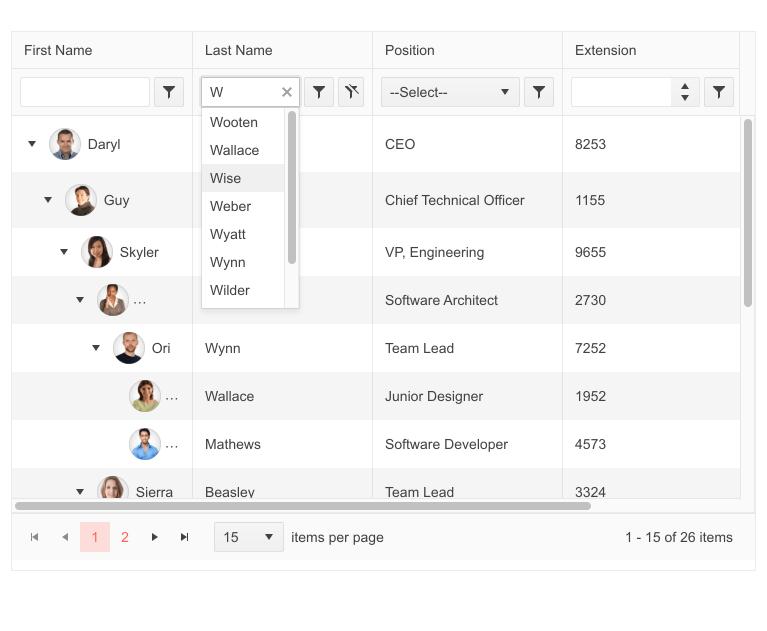 Telerik UI for PHP TreeList Filter Row
