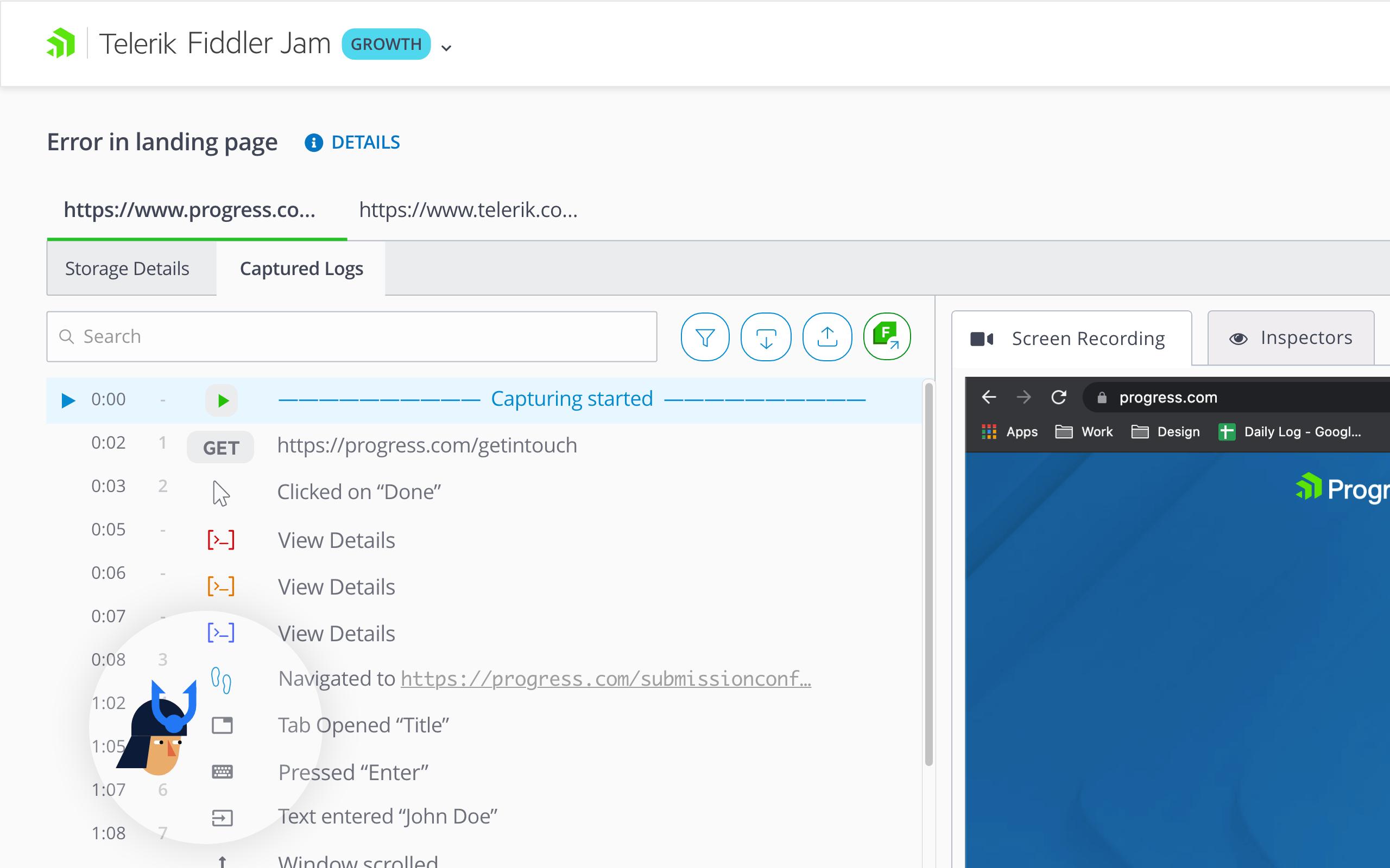 Fiddler Jam - User Events Capture Log