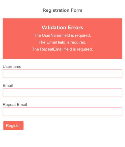 Telerik UI for Blazor Validation Summary Template