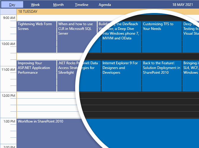 Visual Studio 2019 in light mode is shown with a bubble revealing the differences in Dark variation. Light mode has a white background with blues and purples and orange. Dark mode has a dark gray background with blue accents.