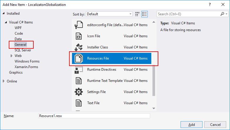 ResourcesFile item template