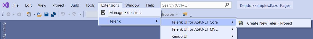 Telerik UI Visual Studio Template