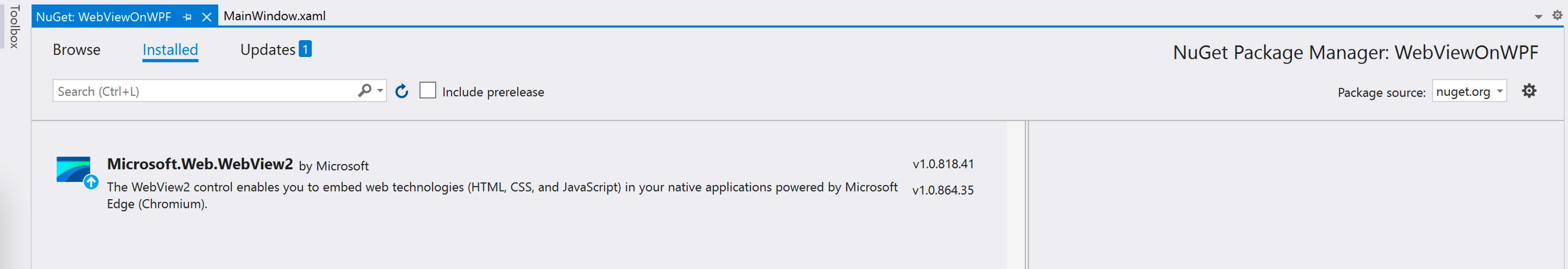 NuGet: WebViewOnWPF MainWindow.xaml, under Installed is Microsoft.Web.WebView2.
