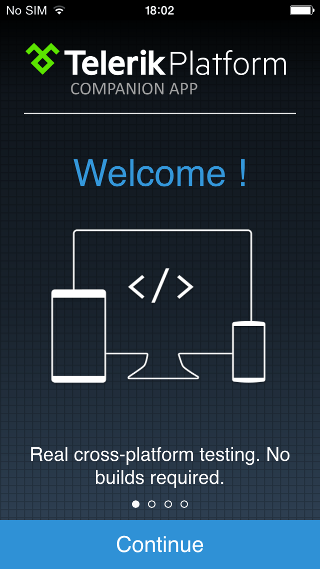 Welcome screen