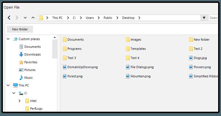 Telerik UI for WinForms File Dialogs - Custom Places