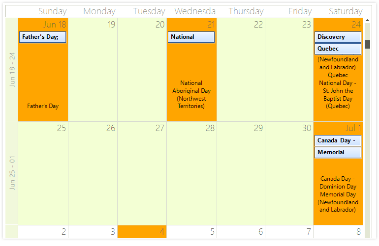Telerik UI for WinForms - Scheduler - Holiday Support Image