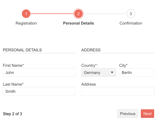 Telerik UI for Blazor Wizard Form Integration on Step 2 of 3, Personal Detauils, including form fields for name, country, city, and address.