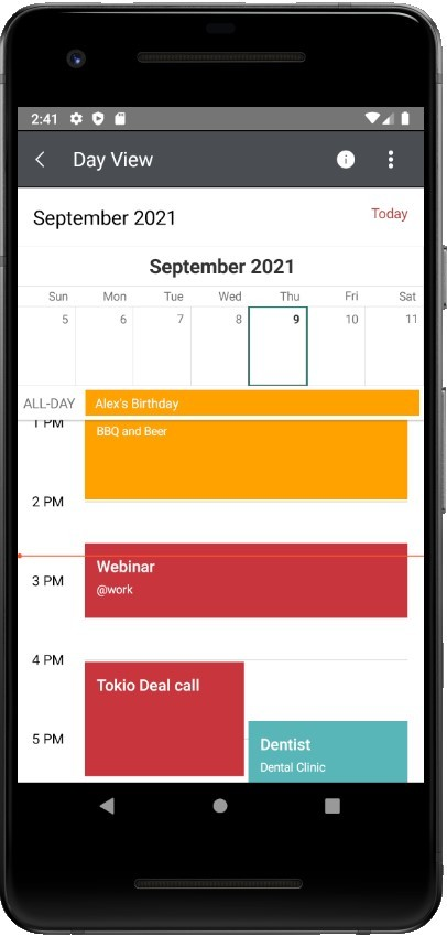 Customize CurrentTimeIndicator for Xamarin Calendar shows a red line in the day's agenda, showing the current time, so it's easy to see what's next