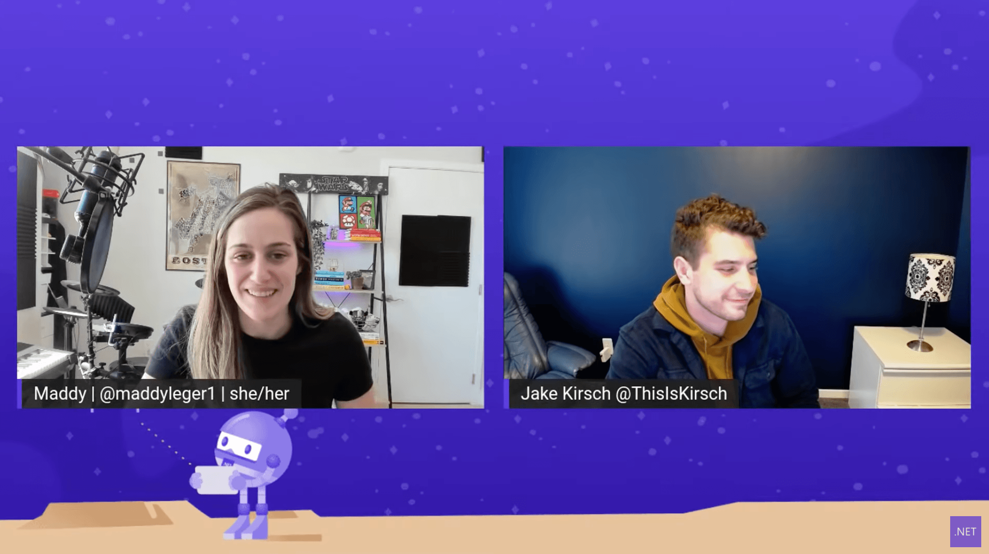A screencap of Xamarin Standup video with Maddy Leger and Jake Kirsch