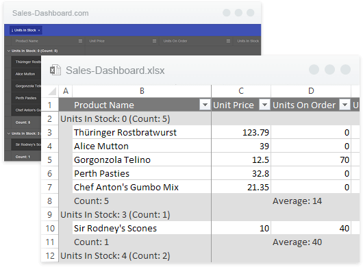 Exporting Content to Excel