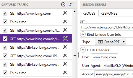 Captured trafic and session details with Fiddler
