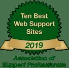 Ten Best Web Support Sites 2019 Badge