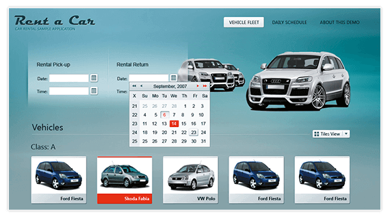 Rent-a-Car ASP.NET AJAX Sample Application by Telerik