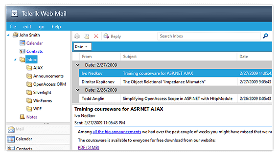 Web Mail Sample App for ASP.NET AJAX from Telerik