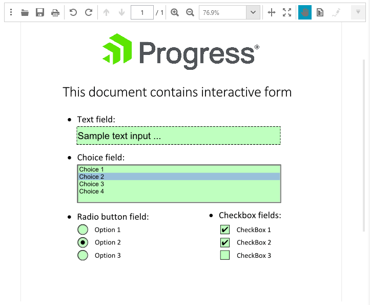 Telerik UI for ASP.NET Core PdfProcessing - Interactive Forms