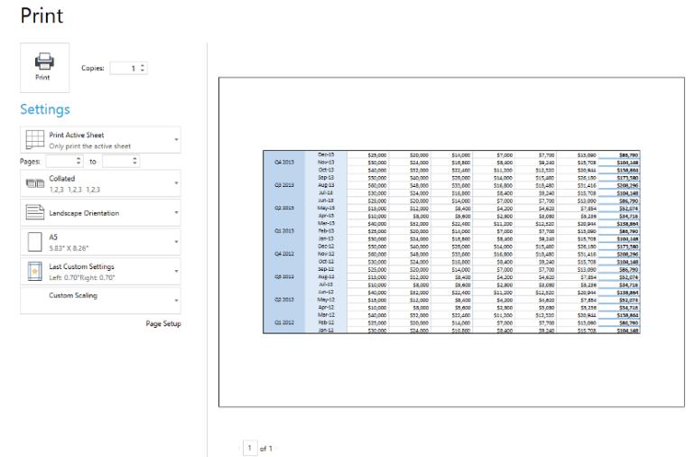 Telerik UI for ASP.NET Core SpreadProcessing -  print page setup